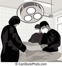 Surgeon team at work in operating room in silhouette