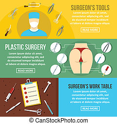 Surgeon tools banner horizontal set, flat style