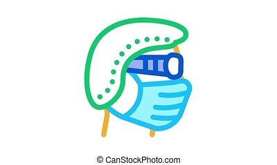 surgeon wearing protection hat mask glasses Icon Animation. color surgeon wearing protection hat mask glasses animated icon on white background