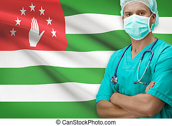 Surgeon with flag on background series - Abkhazia