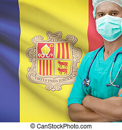 Surgeon with flag on background series - Andorra