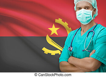 Surgeon with flag on background series - Angola
