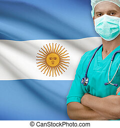 Surgeon with flag on background series - Argentina