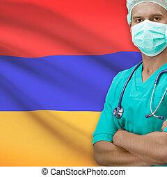 Surgeon with flag on background series - Armenia