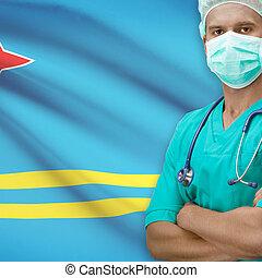 Surgeon with flag on background series - Aruba