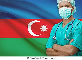 Surgeon with flag on background series - Azerbaijan