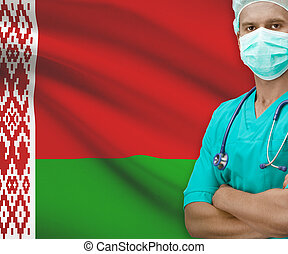 Surgeon with flag on background series - Belarus