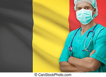 Surgeon with flag on background series - Belgium