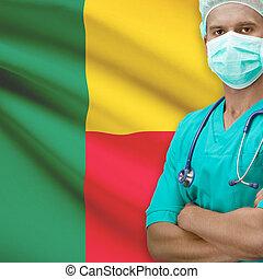 Surgeon with flag on background series - Benin