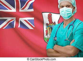 Surgeon with flag on background series - Bermuda