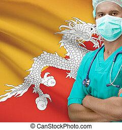 Surgeon with flag on background series - Bhutan