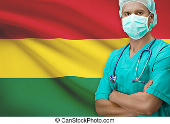 Surgeon with flag on background series - Bolivia