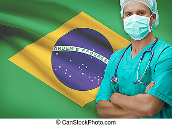 Surgeon with flag on background series - Brazil - Surgeon...