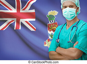 Surgeon with flag on background series - Cayman Islands
