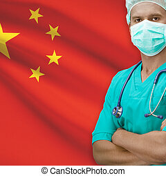 Surgeon with flag on background series - China