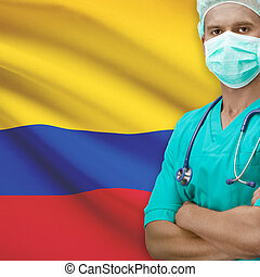 Surgeon with flag on background - Colombia