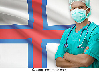 Surgeon with flag on background series - Faroe Islands