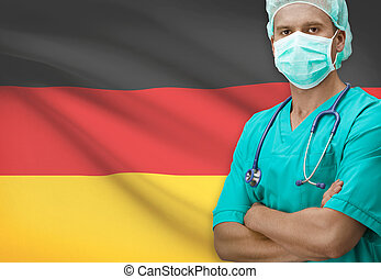 Surgeon with flag on background - Germany