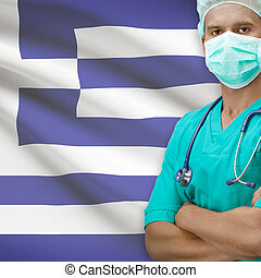 Surgeon with flag on background series - Greece