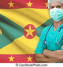Surgeon with flag on background series - Grenada