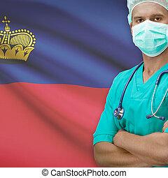 Surgeon with flag on background series - Liechtenstein