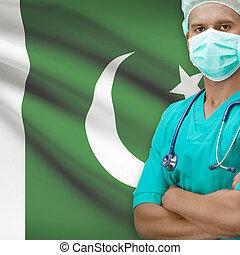 Surgeon with flag on background series - Pakistan