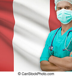 Surgeon with flag on background series - Peru