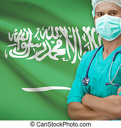 Surgeon with flag on background - Saudi Arabia