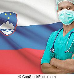 Surgeon with flag on background series - Slovenia - Surgeon ...