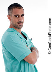 surgeon with folded hands on an isolated studio picture