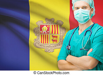 Surgeon with national flag on background series - Andorra