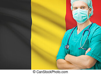 Surgeon with national flag on background series - Belgium