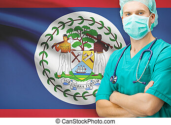 Surgeon with national flag on background series - Belize