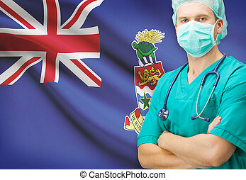Surgeon with national flag on background series - Cayman Islands