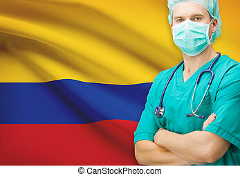 Surgeon with national flag on background series - Colombia
