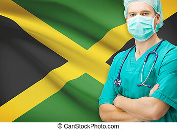 Surgeon with national flag on background series - Jamaica