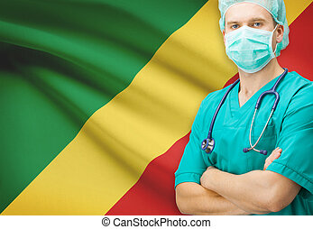 Surgeon with national flag on background series - Republic of the Congo