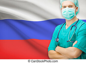 Surgeon with national flag on background series - Russia