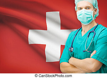 Surgeon with national flag on background series - Switzerland