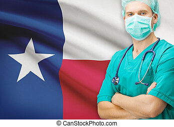 Surgeon with US state flag on background series - Texas - ...