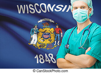 Surgeon with US state flag on background series - Wisconsin