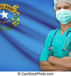 Surgeon with USA states flags on background - Nevada