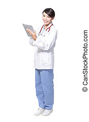 surgeon woman doctor smile using tablet pc