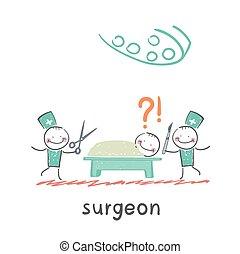 Surgeons. Fun cartoon style illustration. The situation of...