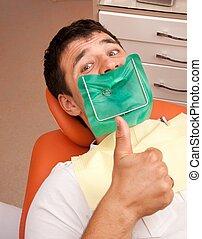 surgery., dentista, uomo, felice