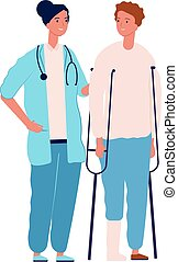 Surgery or traumatology. Doctor consulting patient with ...