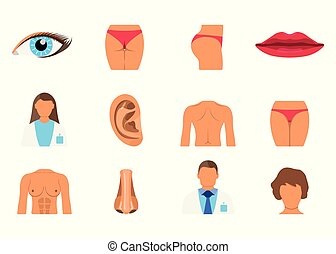 Surgery Set of Woman Body Part. Sporty Body Icon. Vector Illustration Label