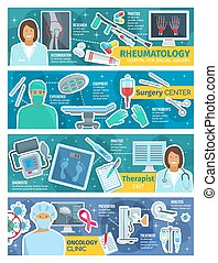 Surgery, therapy, oncology and rheumatology banner - Medical...