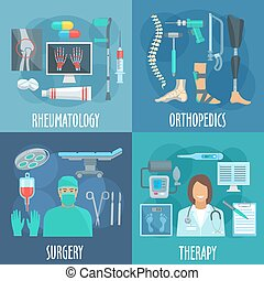 Surgery, therapy, orthopedic, rheumatology icons