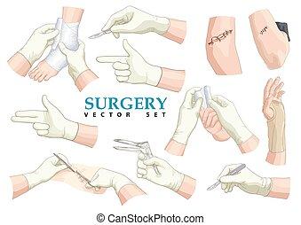 surgery., vektor, set.